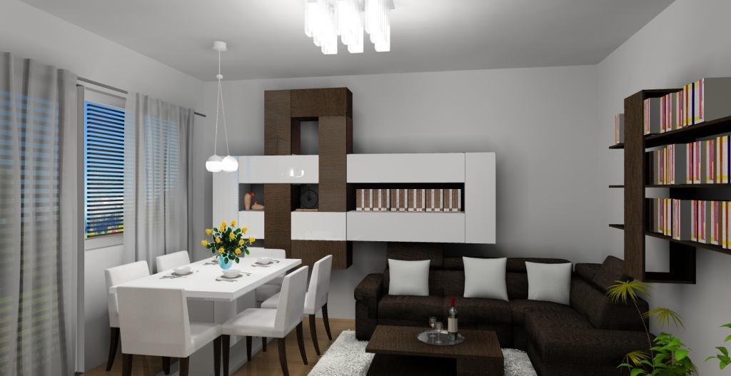 Salon z jadalnią, sufit podwieszany, oświetlenie led, duży stół, lampa stojąca