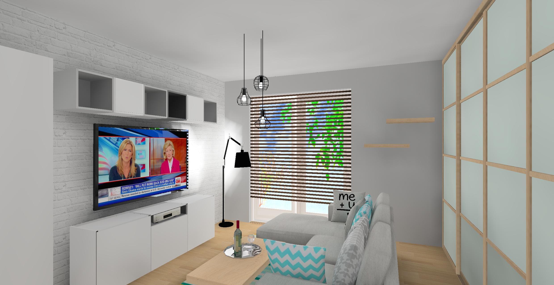 salon, wnetrze, dodatki, poduszki, drewno, ciepłe kolory, dywan, cegła, biały, turkus, drewno