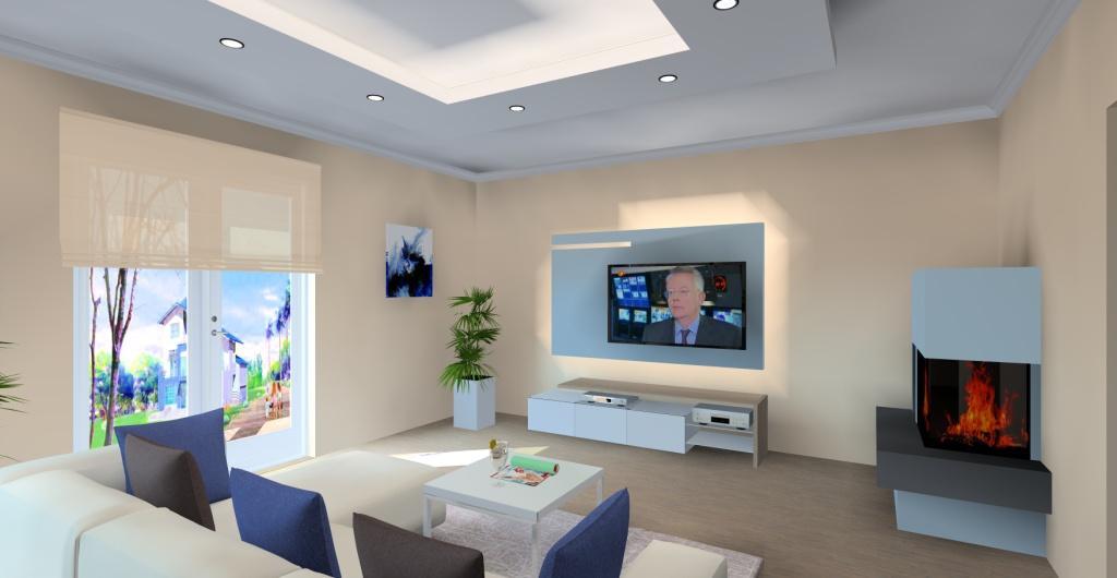 Salon piękny kominek, salon w kolorach pastelowych, sufit podwieszany w salonie
