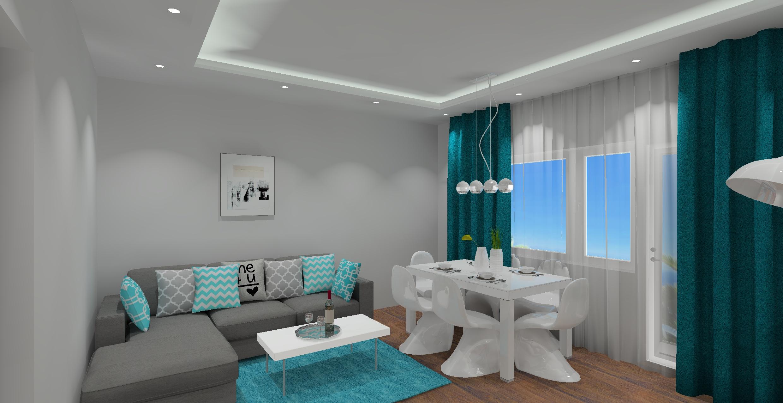 Salon w kolorze białym i szarym, kolory ścian w salonie