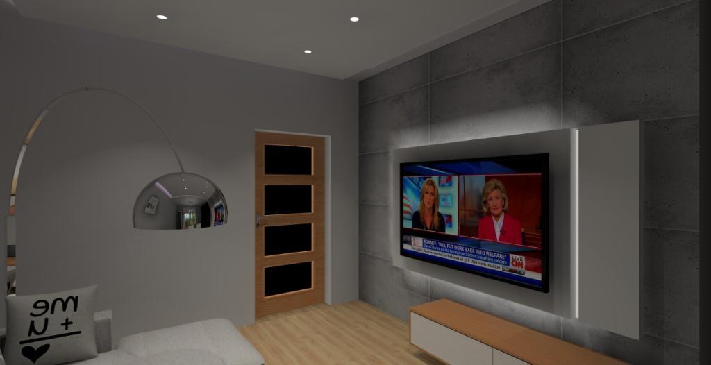 Nowoczesny salon w bloku, płyty betonowe na ściane, szafka rtv biała z drewnem