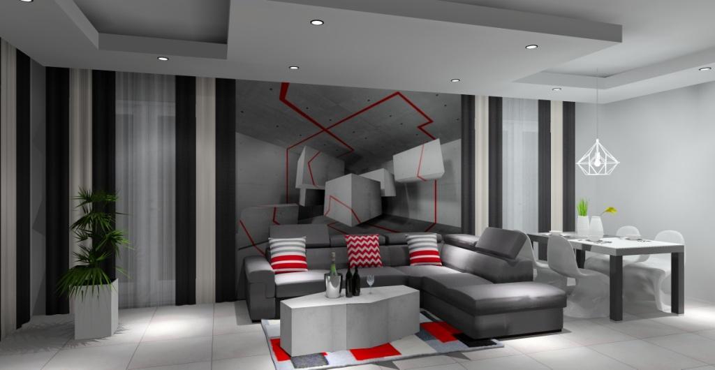 Salon, fototapeta, stolik kawowy betonowy, płytki imitujące beton
