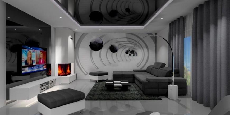 nowoczesny salon, fototapeta, szkło na ścianie, biały, szary, czarny