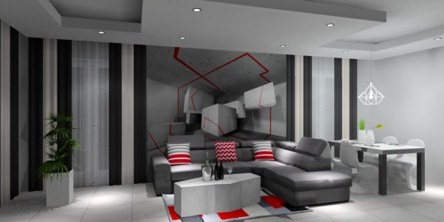 Salon, poduszki, dywan, fototapeta