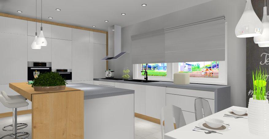 nowoczesne wnętrze, wyspa w kuchni, projekt kuchniz wyspą
