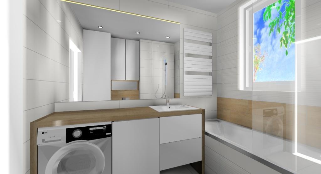 Aranżacja łazienki – biel i drewno, pralka, duże lustro podśweitlane led, blat drewniany