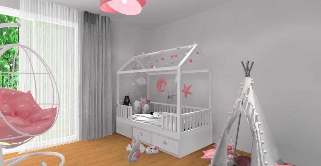 Aranżacja pokoju dla dziewczynki – biel, róż, szarość, łózko domek, tipi, fotel bujany