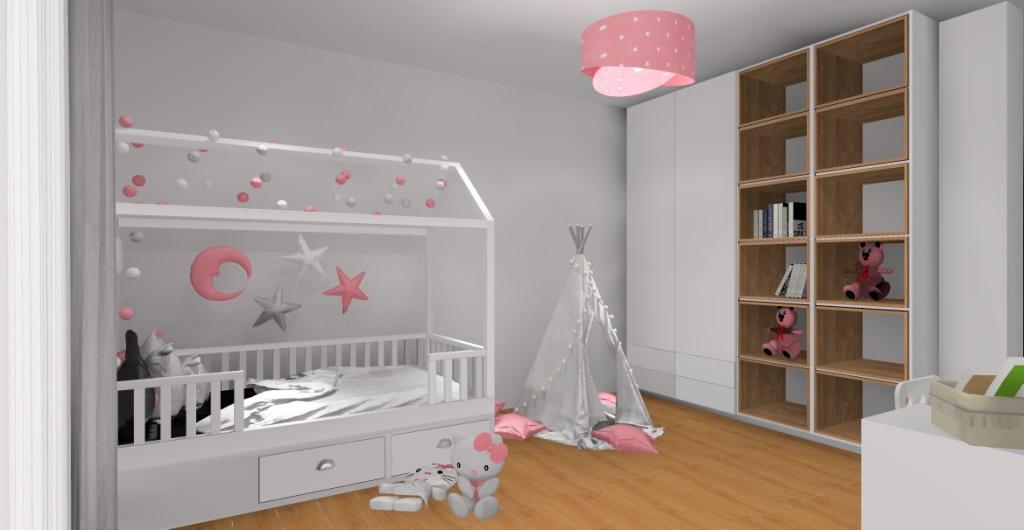Aranżacja pokoju dla dziewczynki – biel, róż, szarość, łózko domek, tipi, szafa biała, półki na zabawki