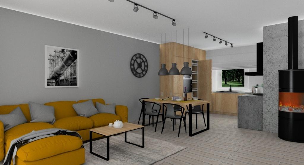 Aranżacja salonu w stylu industrialnym, oświetlenie na szynach, sofa miodowa, stół i stolik kawowy industrialny, zegar