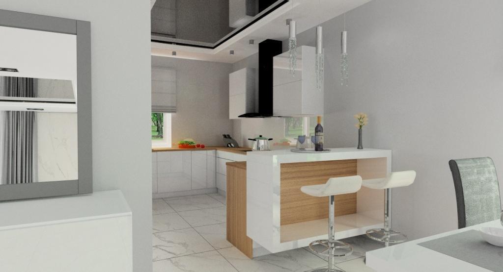 Aranżacja salonu z kuchnią z betonem, wyspa w kuchni, biała kuchnia