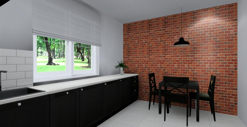 Kuchnia - kolorystyka, kuchnia szara, cegła na ścianie