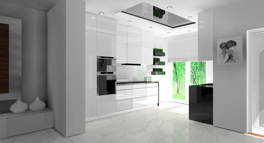 NOwoczesny salon z kuchnią w stylu glamour, widok na biała kuchnię z czarnymi blatami