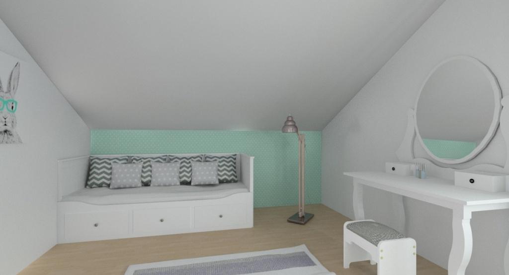 Pokój dla nastolatki – biel, szarość, mięta, tapeta w kółka miętowa, łóżko hemnes, toaletka hemnes