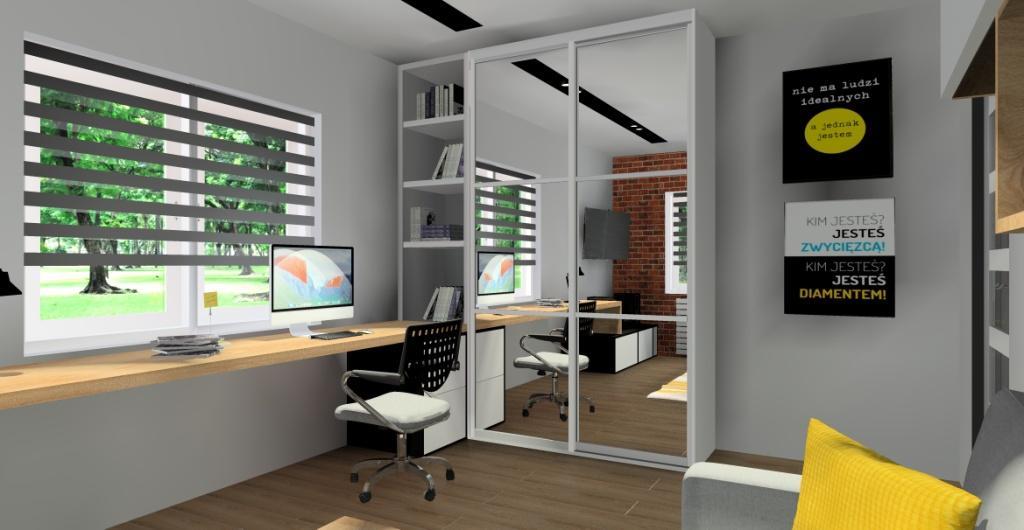 Pokój młodzieżowy – szary, czarny, drewno, cegła, duże biurko pod oknem, szafa na ubrania, plakaty na ścianie