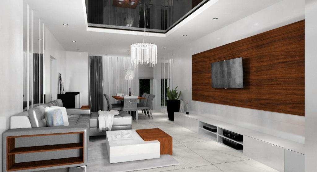 Salon nowoczesny w stylu glamour, średni salon, panel TV drewniany, podłoga płytki marmurowe, sufit podwieszany czarny