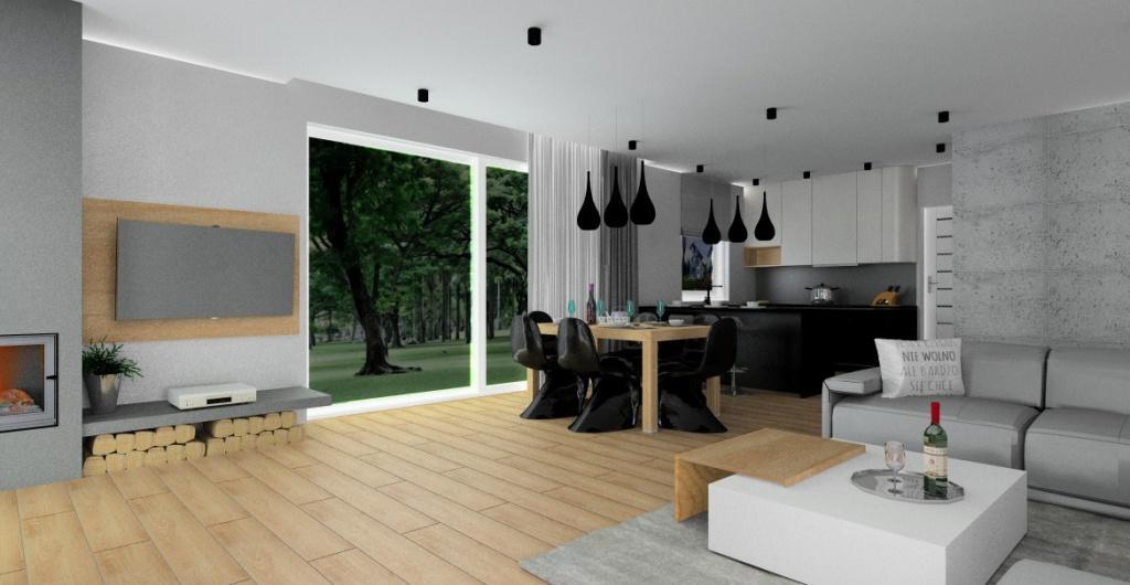 Salon z kuchnią w stylu nowoczesnym –czarny ,biały, drewno, beton