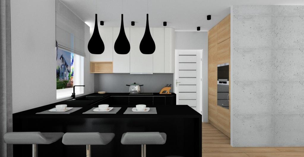 Salon z kuchnią w stylu nowoczesnym – zdjęcia