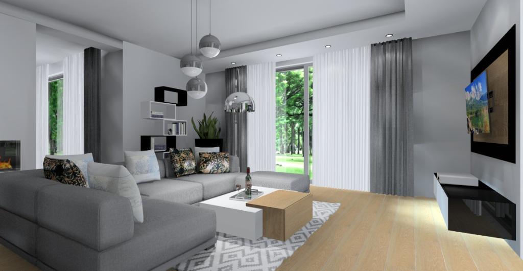 Salon, duża szafka RTV, narożnik szary, zasłony szare, stolik waowy biały z drewnem