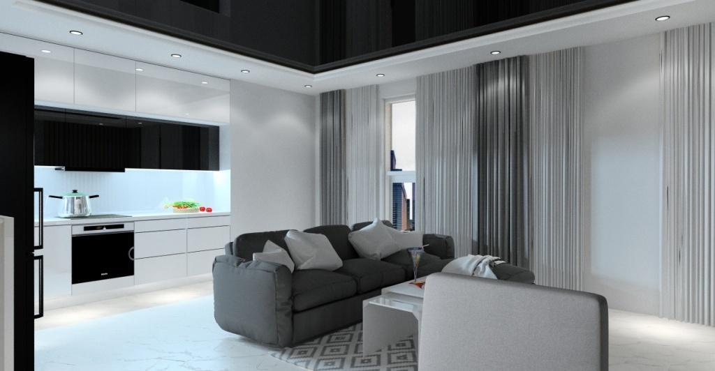 Salony z kuchnią, nowoczesna aranżacja wnętrza, małe pomieszczenie, beton na ścianie