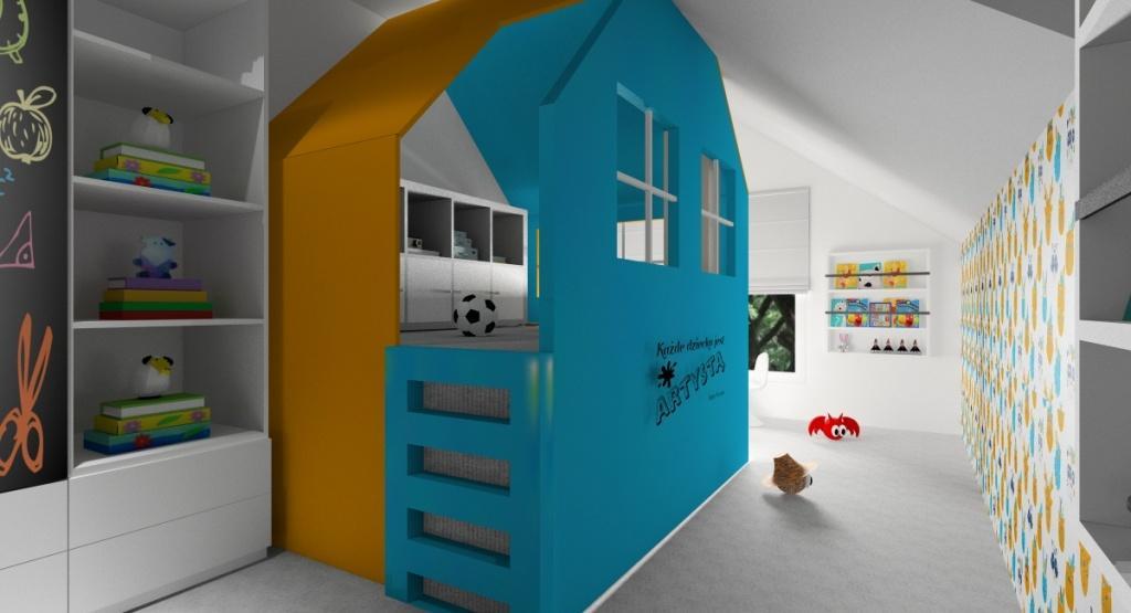 Dodatki do pokoju dziecięcego, kolory w pokoju, domek, półki na książki, tapeta, plakaty