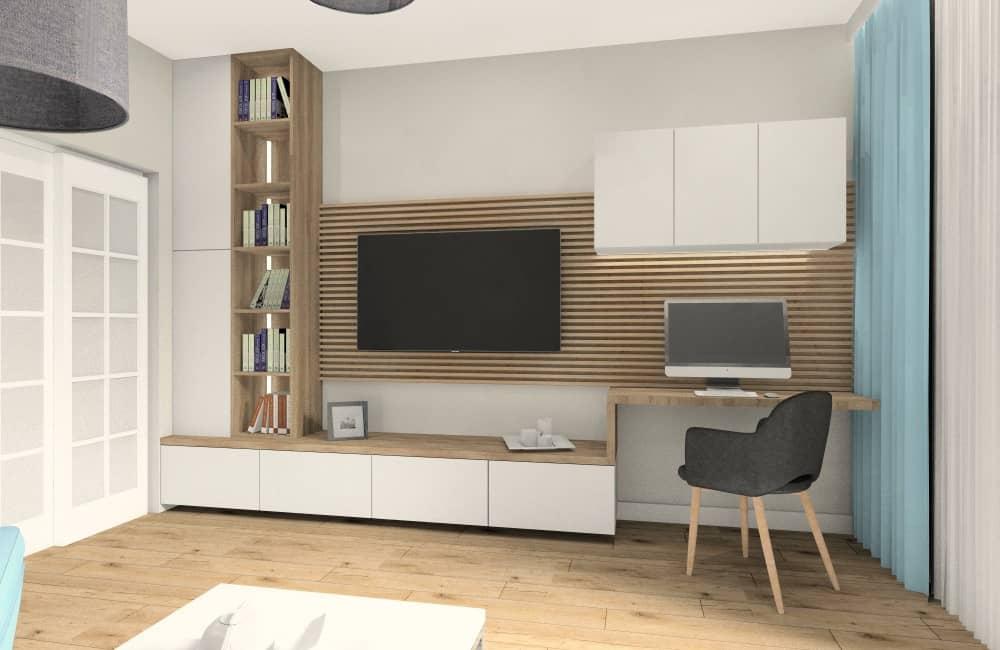Aranżacja małego salonu w bloku. Jak urządzić pokój dzienny? miejsce do pracy, zabudowa RTV z pólkami szafką, telewizor