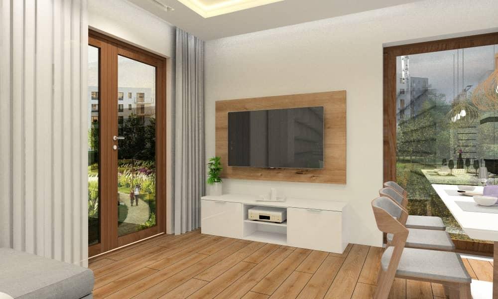 Aranżacja salonu z kuchnią w kolorze beż, drewno, biały i szary.