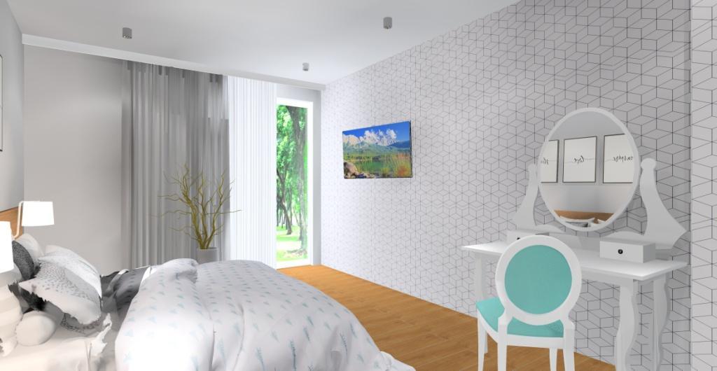 aranżacja sypialni : biały, szary, drewno, fototapeta geometryczna, toaletka