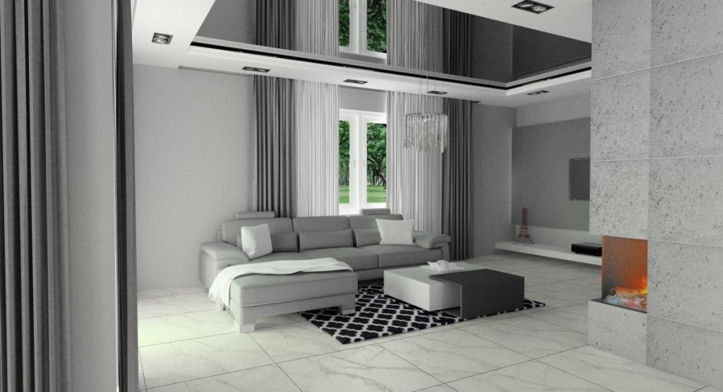 Beton w salonie z kuchnią, sufit podwieszany napinany, sofa szara, płytki biało-szare, kominek