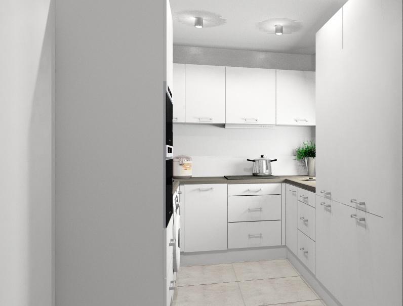 biel w kuchni, projekt, aranżacja białej kuchni, widok na szafki z piekarnikiem, pralka, szkło na ścianie białe podłoga szara, mała kuchnia