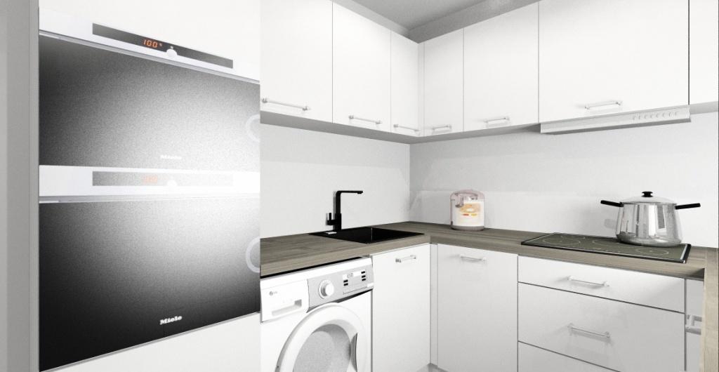 biel w kuchni, projekt, aranżacja białej kuchni, widok na szafki z piekarnikiem, pralka