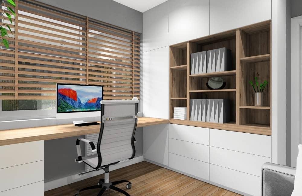 Biuro w domu: urządzamy miejsce do pracy w stylu skandynawskim, blat biurka drewniany, zabudowa meblowa na segregatory, dokumenty, aranżacja w kolorze białym, szarym i drewnie