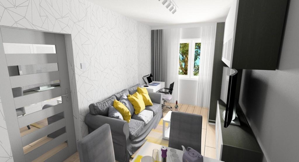 Funkcjonalne zagospodarowanie przestrzeni małego mieszkania , pokój dzienny, biurko do pracy, stół, sofa dwuosobowa, Ikea besta