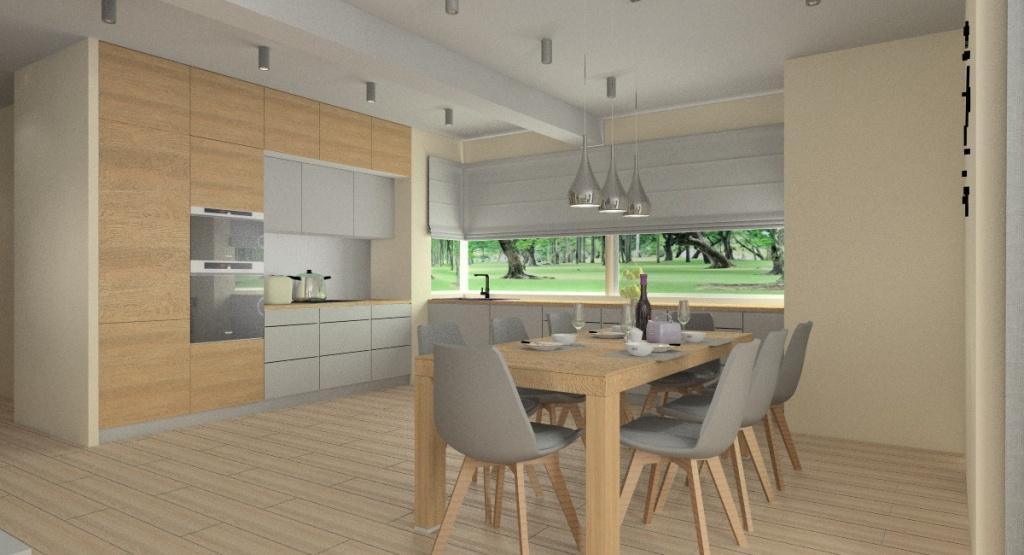 Funkcjonalny i stylowy salon z kuchnią