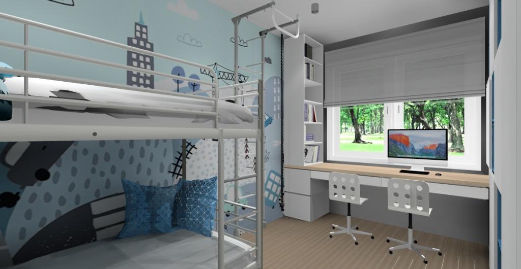 Jak urządzić pokój dla dziecka? aranżacja pokoju dla rodzeństwa, łóżko piętrowe, biurko duże pod oknem, drabinka do wspinaczki dla dzieci