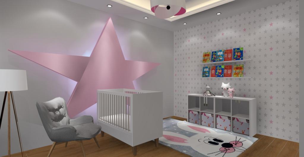 Jak urządzić pokój dla dziecka ? aranżacja wnętrza: biały, szary, róż, gwiazda na ścianie za łóżeczkiem dziecka, tapeta kwiazdki szare i różowe, dywan z królikiem, sufit podwieszany