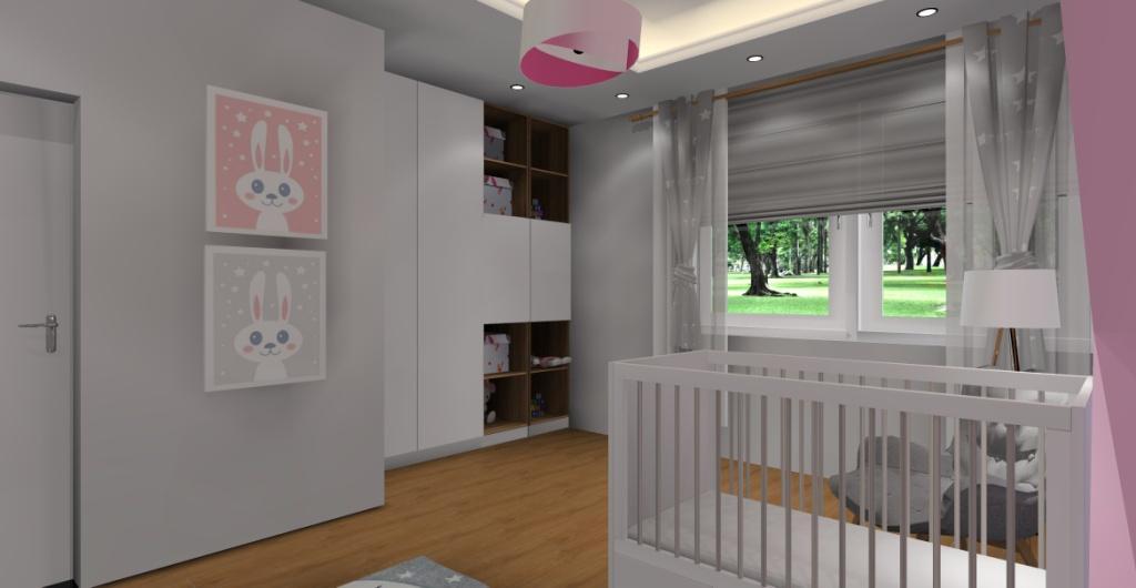 Jak urządzić pokój dla dziewczynki, pokój biały, szary, różowy, dekoracje na ścianie obrazki, szafa biała, półki białe z drewnem