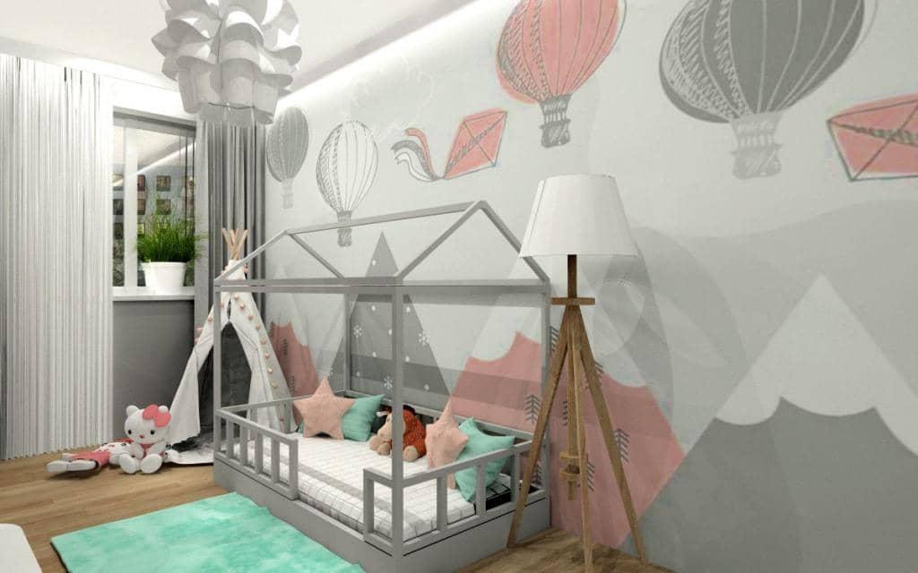 Jak urządzić pokój dziecięcy? pokój dla dziewczynki, tapeta z balonami w kolorze miętowym róż, łózko domek, dywan miętowy, namiot tipi