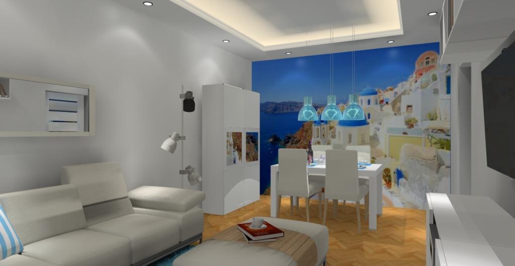 Jak urządzić salon ? Aranżacja salonu – biały, niebieski, fototapeta na ścianie z grecją, lampy nad stołem niebieskie