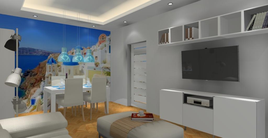 Jak urządzić salon ? Aranżacja salonu – biały, niebieski, salon w klimacie greckim, fototapeta na ścianie grecja, stół biały, krzesła krem, biała szafka RTV, lamy IKEA