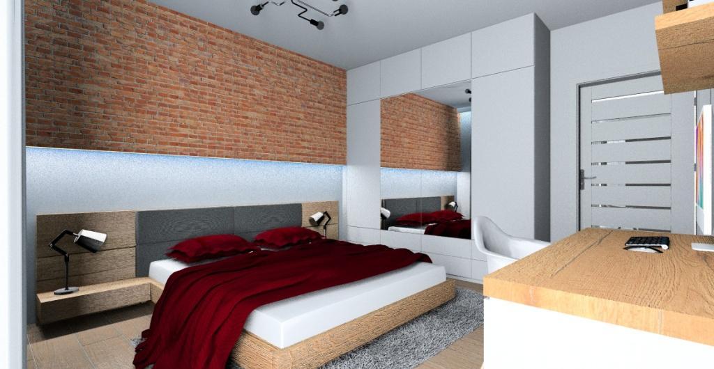 jak urządzić sypialnie, aranżacja wnętrza, sypialni widok na szafę z lustrami białą i ściana za łożkiem z cegły czerwonej, drewno w sypialni, biurko do pracy