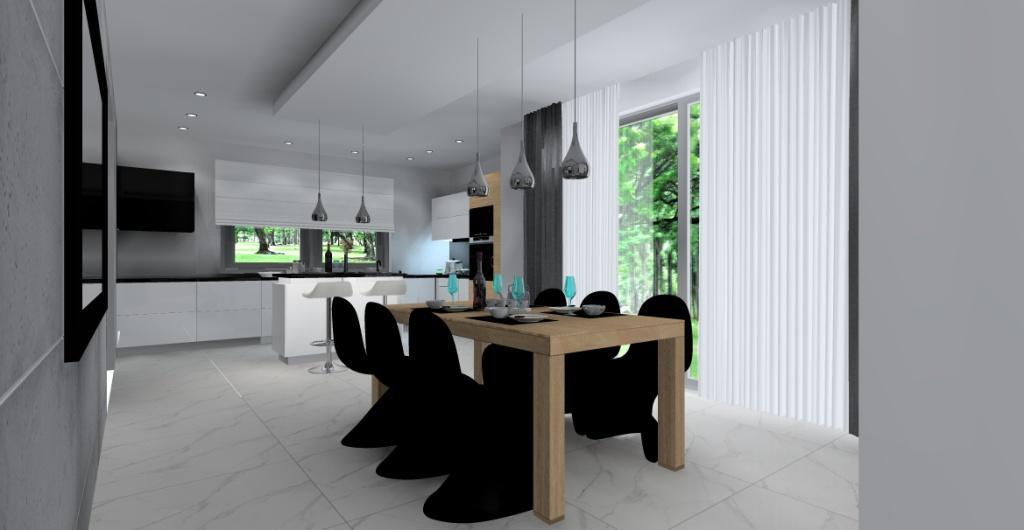 Kuchnia i jadalnia, duzy stół drewniany, czarne krzesła, górne szafki do sufitu