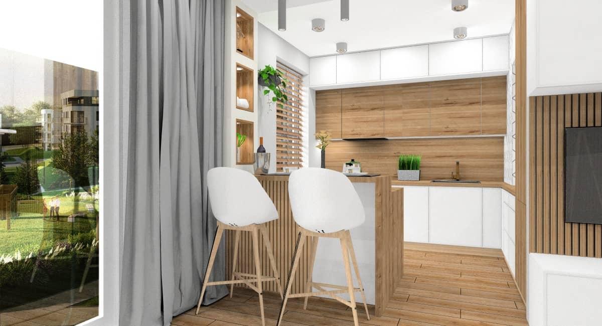 Kuchnia, styl skandynawski, zabudowa w literę L z barkiem, okno wysokie do podłogi, hokery Ikea białe z drewnianymi nogami, spoty oświetlnie , meble kuchenne w drewnie z dodatkiem bieli i szarościna sufiecie