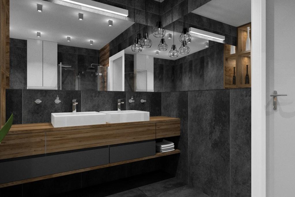 łazienka, wystrój nowoczesny, czarne płytki na ścianie z umywalką, szafka pod umywalki drewniana