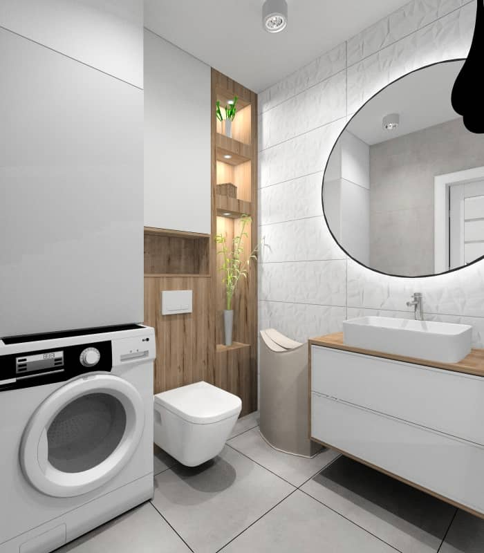 Łazienka, aranżacja wnętrza w stylu skandynawskim, Poswietlane półki, zabudowa pralki, lustro okrągłe
