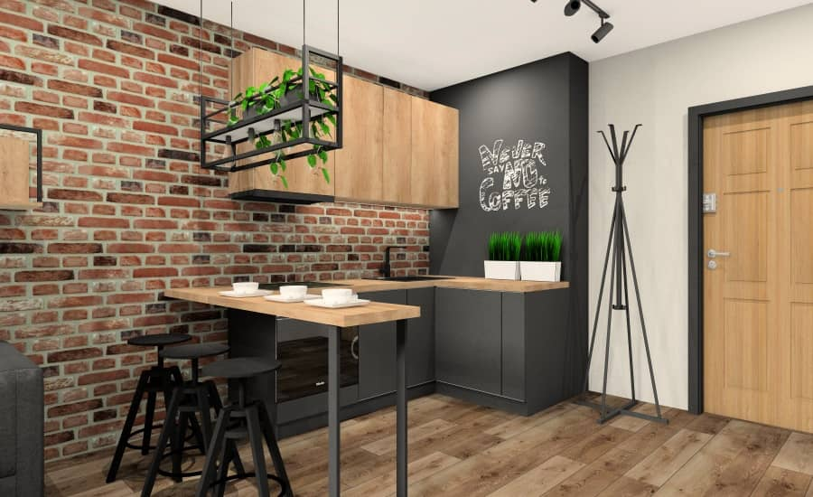 Małe mieszkanie 28 m2. Pomysł na salon z aneksem kuchennym