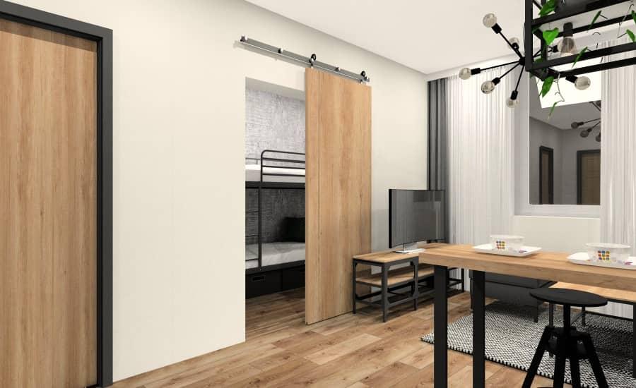 Małe mieszkanie 28m2, wejście do sypialni, drzwi przesuwne
