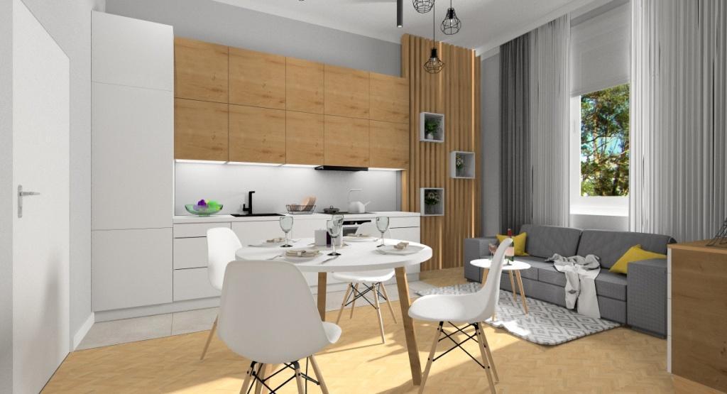 Małe mieszkanie - salon z aneksem kuchennym