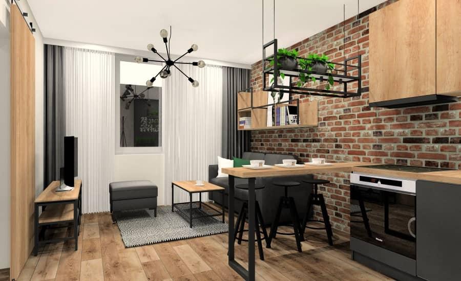 Mieszkanie 28m2, pomysł na projekt i aranżacje wnętrza