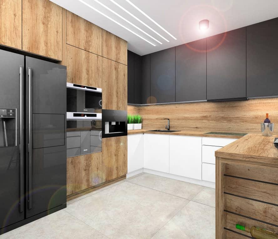 Nowoczesna kuchnia, Fronty kuchenne w kolorze drewnianym, białym oraz czarnym, Blat drewniany, ściana pomiędzyszafkami drewniana, barek w kuchni, kuchnia w kształcie litery L