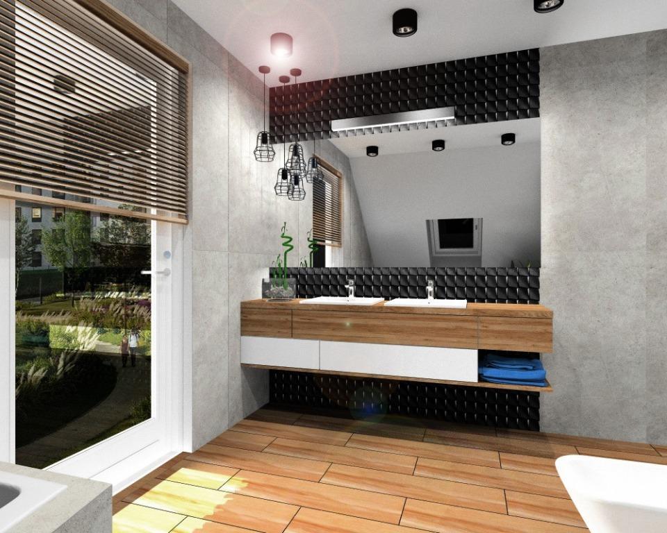 Aranżacja łazienki, nowoczesne wnętrze, płytki na ścianie czarne, szare, płytki na podłodze czarne